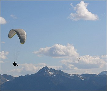 Two Paragliders Soaring Thermals off the Lookout Launch